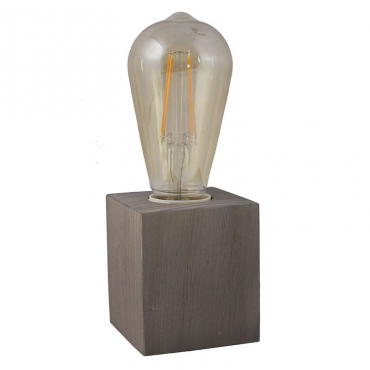 Lámpara sobre mesa cubo gris