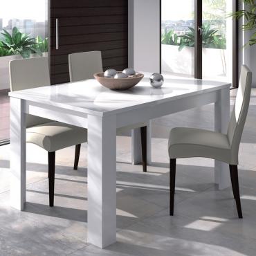 Mesa extensible blanco brillo