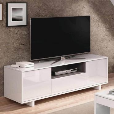 Mesa módulo bajo TV Zaira 3 puertas blanca 46x150x41 cm