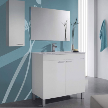 Mueble de baño blanco brillo