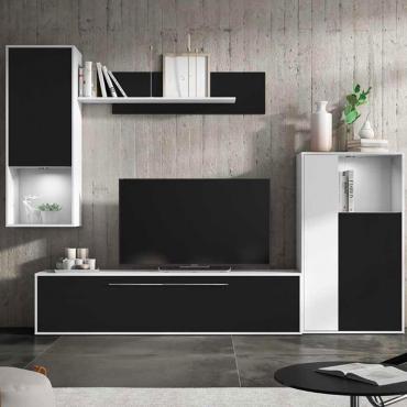 Mueble Modular Salón Comedor Blanco y Negro