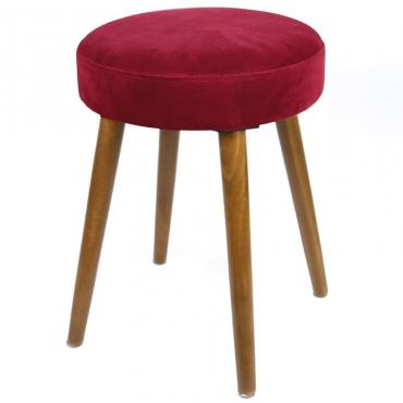 Taburete Velvet Rojo pata madera terciopelo