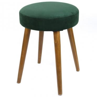 Taburete Velvet verde asiento terciopelo pata madera