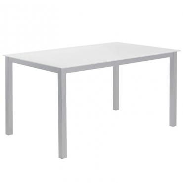 Mesa cocina Cadell fija cristal blanco