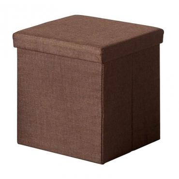 Puff cuadrado marrón tela