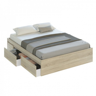 Cama con cajones color roble
