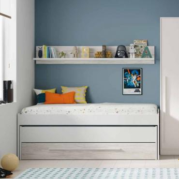 Cama nido con cajón + estante juvenil Billy color blanco