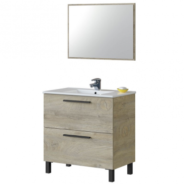 Mueble baño Athena y espejo roble - Lavabo opcional