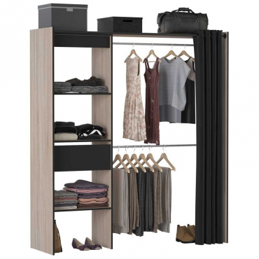 Vestidor negro y roble Chic industrial