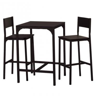 Pack mesa alta y 2 taburetes cocina Kool negro mate industrial
